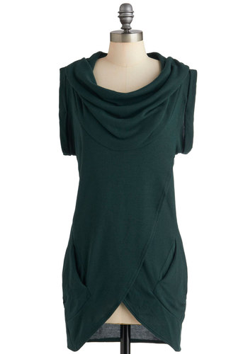 Cold Snap to It Top - Green, Solid, Pockets, Casual, Short Sleeves, Long, Green, Sleeveless