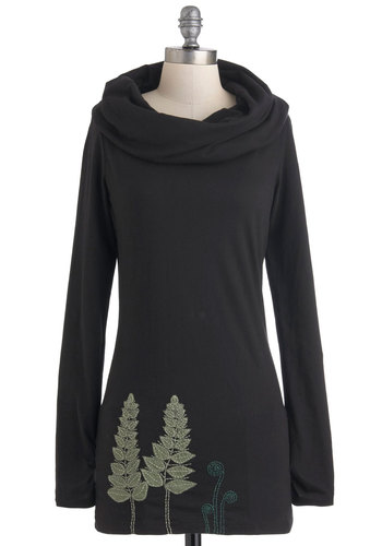 It's In My Nature Top - Black, Green, Solid, Embroidery, Casual, Long Sleeve, Fall, Cotton, Long, Cowl, Rustic