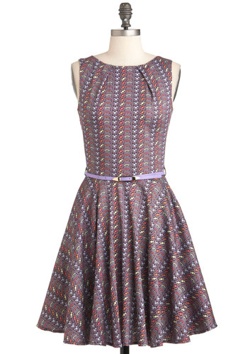 Luck Be a Lady Dress in Dots - Multi, Print, Party, Sleeveless, Belted, Fit & Flare, Mid-length, Purple, Pockets, Exclusives, Cocktail, Cotton, Variation, Basic