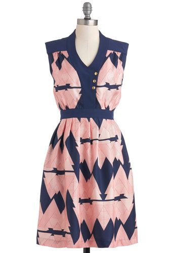 Lauren Moffatt Moving Mountains Dress by Lauren Moffatt - Mid-length, Blue, Print, Pleats, Pockets, Party, A-line, Sleeveless, Vintage Inspired, 60s, 70s, Pink