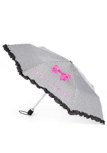Betsey Johnson Weather Patterns Umbrella by Betsey Johnson - Pink, Black, White, Houndstooth, Bows, Film Noir, Spring