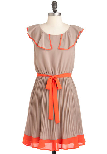 Coral Line In My Mind Dress - Mid-length, Tan, Orange, Pleats, Belted, Party, A-line, Cap Sleeves, Vintage Inspired, 30s, Sheer, Coral