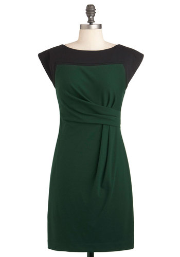 Best Day Evergreen Dress - Mid-length, Green, Black, Solid, Pleats, Work, Sheath / Shift, Cap Sleeves, Vintage Inspired, 50s, Cocktail, Ruching