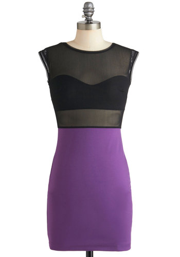 The Heartbreaker Dress - Black, Cap Sleeves, Girls Night Out, Bodycon / Bandage, Short, Purple, Exposed zipper, Sheer, Party