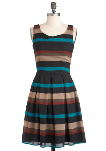 Beach Breeze Dress - Mid-length, Multi, Red, Blue, Brown, Tan / Cream, Black, Stripes, Pleats, Work, Fit & Flare, Sleeveless, Cocktail, Sheer