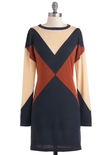 Even and Mod Dress - Blue, Brown, Tan / Cream, Casual, Long Sleeve, Short, Mod, Sweater Dress, Fall, Colorblocking