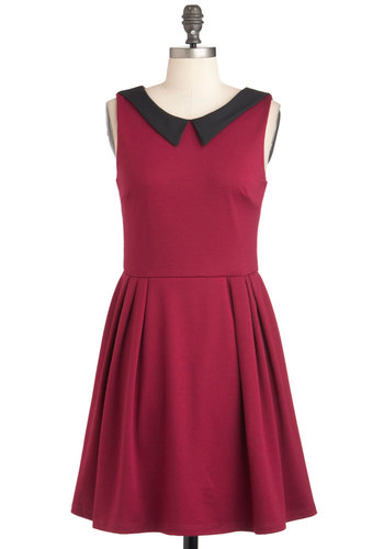 Life Imitates Heart Dress - Solid, Peter Pan Collar, Work, Vintage Inspired, A-line, Sleeveless, Mid-length, Red, Black, Cutout, Casual, Scholastic/Collegiate, Collared, Fit & Flare