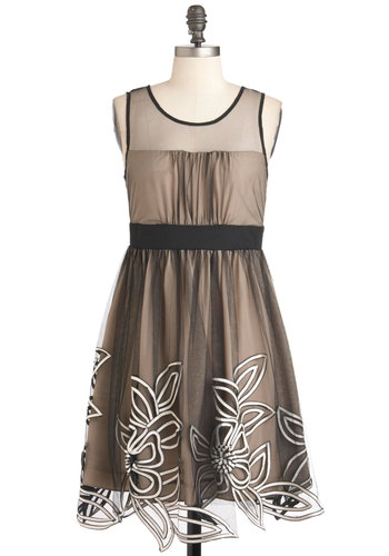 Mesh With the Crowd Dress by Ryu - Wedding, Party, Sleeveless, Mid-length, Tan / Cream, Black, A-line, Embroidery, Cocktail, Holiday Party, Sheer