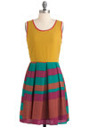 Afternoon at the Paperie Dress - Green, Purple, Casual, Twofer, Mid-length, Pleats, Sleeveless, Multi, Yellow, Exposed zipper