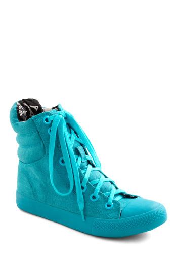 Betsey Johnson You're My Shoe, Blue Sneaker by Betsey Johnson - Blue, Solid, Flat, Lace Up, Casual, 90s