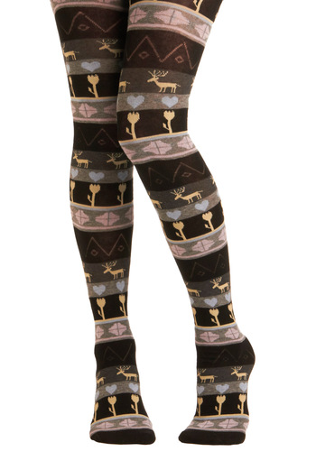 Scene and Heard Tights by Sneaky Fox - Casual, Rustic, Winter, Holiday Sale