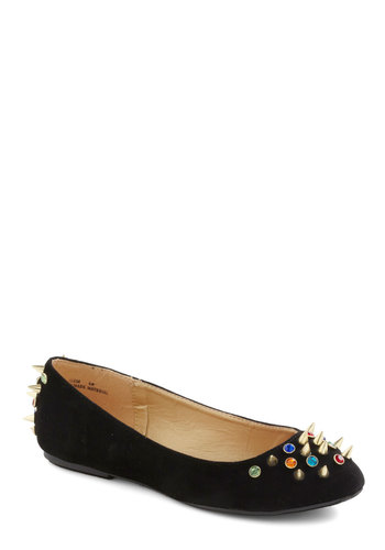 Embellish of the Ball Flat - Black, Multi, Solid, Rhinestones, Studs, Flat, Party, 90s, Statement, Faux Leather