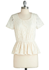Special Day Top - Cream, Solid, Lace, Peplum, Short Sleeves, Mid-length, Sheer, Daytime Party