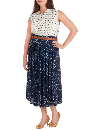 Weekend Adventure Skirt in Plus Size - Blue, White, Polka Dots, Belted, Party, Casual, A-line, Vintage Inspired