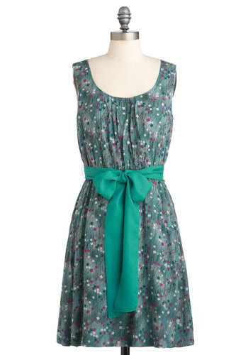 Confetti Betty Dress - Mid-length, Green, Purple, White, Print, Belted, A-line, Sleeveless, Casual, Exclusives, Holiday Sale