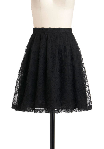 We Just Mesh Skirt - Black, Solid, Lace, A-line, Short, Party, Cocktail, Holiday Party, Sheer, Daytime Party