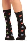 Happy Snails to You Socks - Black, Multi, Print with Animals, Novelty Print, Knitted