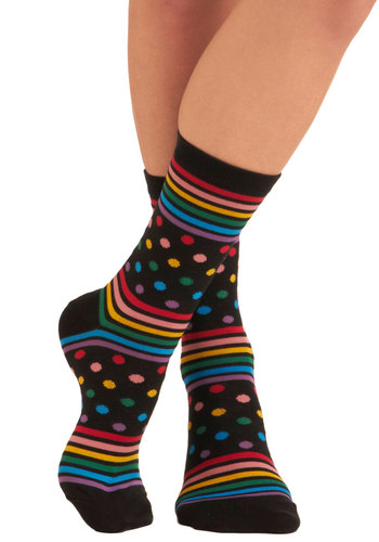 On a Roller Rink Socks - Black, Multi, Polka Dots, Stripes, Casual, 70s, Quirky, Knitted