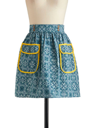 Summer Snow Skirt by Mata Traders - Mid-length, Blue, Yellow, Pockets, Trim, A-line, Print, Casual, Folk Art, Cotton