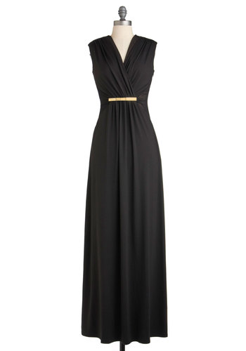 Nightfall for You Dress - Long, Black, Solid, Party, Sleeveless, Maxi, Film Noir, Vintage Inspired, 70s, Luxe, Cocktail, Holiday Party, 20s, V Neck