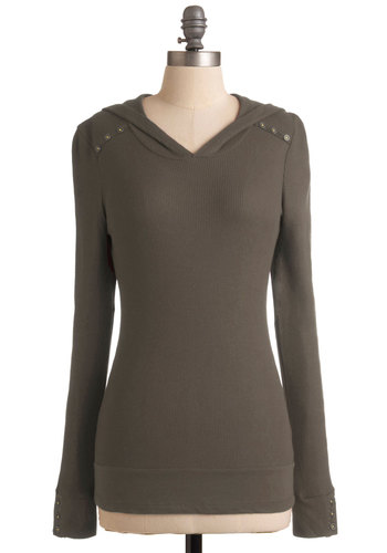 Street Style Starlet Top in Brownie - Solid, Buttons, Hoodie, Long Sleeve, Brown, Casual, Mid-length, Jersey, V Neck