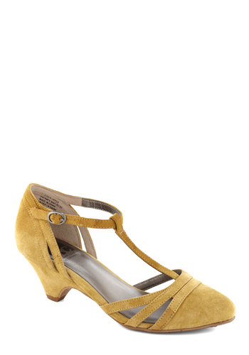 Just Prance Heel in Lemon by BC Shoes - Yellow, Solid, Cutout, Low, Party, Cocktail, Holiday Party, Leather, Suede, Mid, 20s, Variation