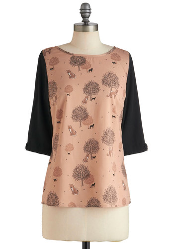 How Soon Is Meow Top by Yumi - Mid-length, Pink, Tan / Cream, Black, Casual, 3/4 Sleeve, Print with Animals, Quirky, Pastel