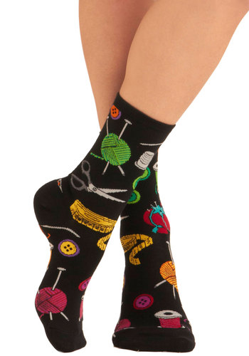 Going Sew to Toe Socks - Black, Multi, Quirky, Knitted