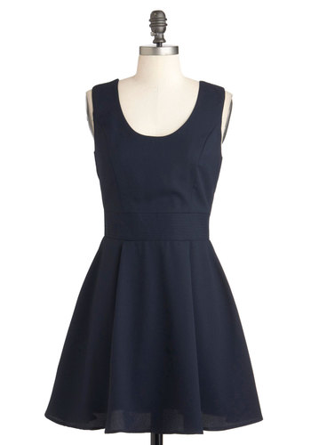 Behold Attention Dress - Blue, Solid, Mid-length, Pleats, Party, Fit & Flare, Sleeveless, Backless, Bows, Cocktail