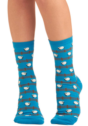 Have You Hurdle? Socks - Blue, Multi, Print with Animals, Casual, Kawaii, Quirky