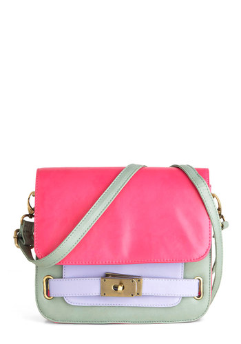 The Purse-onality Within Bag - Green, Purple, Pink, Casual, Colorblocking, Neon, Faux Leather