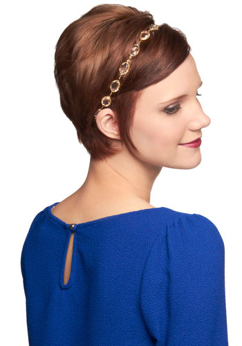 Crystalline Fountains Headband - White, Gold, Solid, Luxe, Party, 20s, Graduation