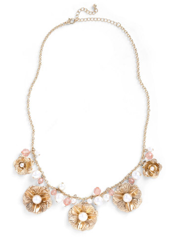 Burgeoning Brilliance Necklace - Gold, Pink, Tan / Cream, Party, Vintage Inspired, Statement, Fairytale, Cocktail, Daytime Party