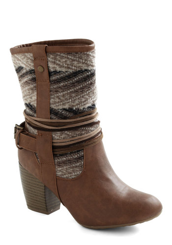 Chalet We Dance? Boot - Multi, Print, Buckles, Chunky heel, Rustic, Fall, Faux Leather, Mid, Holiday Sale, Brown
