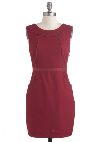 Frill Me, Thrill Me Dress - Red, Solid, Pockets, Work, Sheath / Shift, Sleeveless, Short, Party, Tis the Season Sale