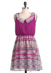 Tendril-Hearted Dress - Purple, Grey, Peter Pan Collar, Casual, A-line, Sleeveless, Scholastic/Collegiate, Mid-length, Print, Collared