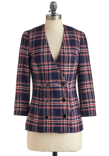 Favorite Professor Jacket - Mid-length, Blue, Red, White, Plaid, Buttons, Long Sleeve, 2, Work, Casual, 90s, Fall, Scholastic/Collegiate, Double Breasted, Holiday Sale