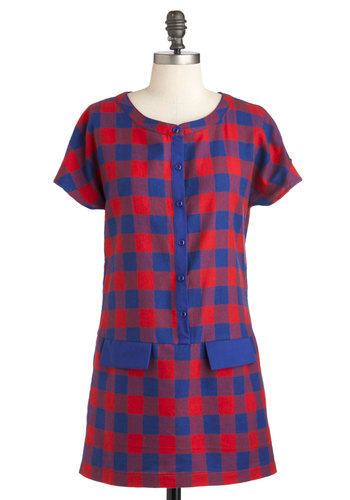Full Attention Tunic - Red, Blue, Checkered / Gingham, Buttons, Casual, Shift, Short Sleeves, Long, 60s, Fall, Scholastic/Collegiate, Button Down, Mod
