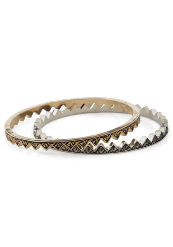 On Jagged Edge Bracelet - Silver, Gold, Party, Casual, Statement, Urban, Girls Night Out