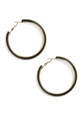 Circular Emotion Earrings - Black, Gold, Party, Urban
