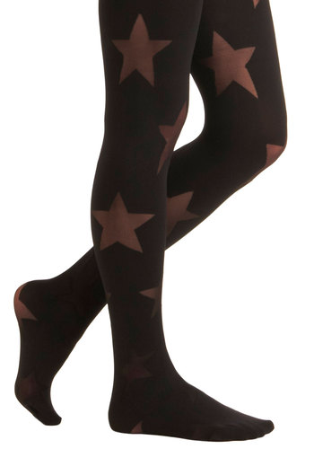 Style Stardom Tights - Print, Black, Party, Sheer