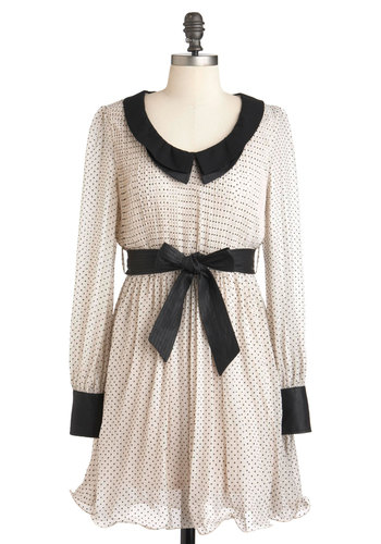 Wonderment to Be Dress - Cream, Black, Polka Dots, Peter Pan Collar, Party, A-line, Long Sleeve, Belted, Mid-length, Pleats, Collared