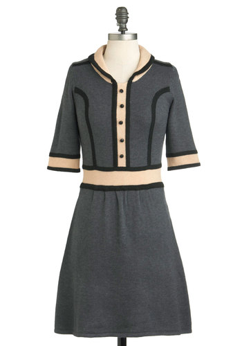 Knits About Time Dress - Mid-length, Grey, Tan / Cream, Black, Buttons, Work, Casual, A-line, 3/4 Sleeve, Fall, Vintage Inspired, Scholastic/Collegiate, Collared