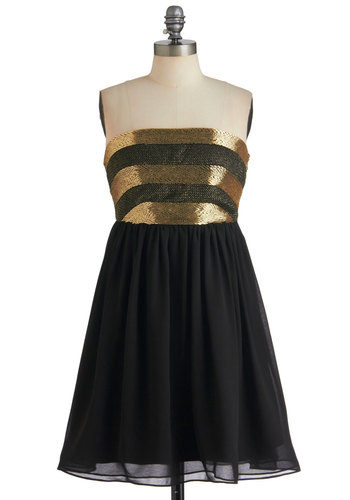 Dancing 'til Daybreak Dress in Black - Black, Gold, Stripes, Beads, Party, Empire, Strapless, Luxe, Cocktail, Holiday Party, Mid-length, Formal, Prom