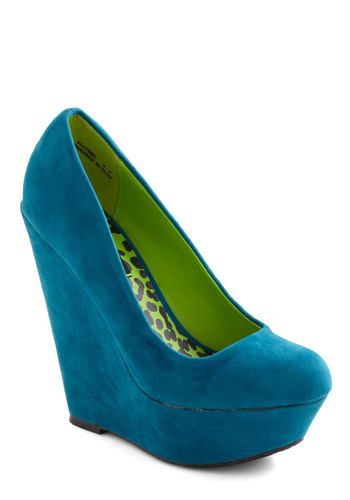 Walk and Roll Wedge in Teal - Blue, Solid, High, Platform, Wedge, Party, Girls Night Out, Variation