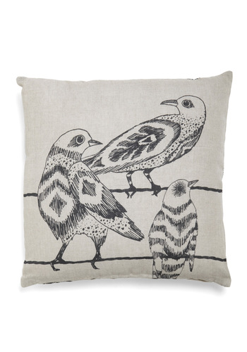 Tree's Company Pillow - Dorm Decor, Quirky, Tan, Black, Print with Animals, Tis the Season Sale