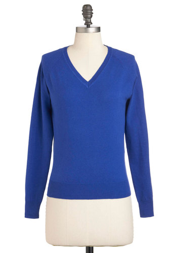 Everyday Threads Sweater - Mid-length, Blue, Solid, Long Sleeve, Casual, Scholastic/Collegiate, Holiday Sale, V Neck
