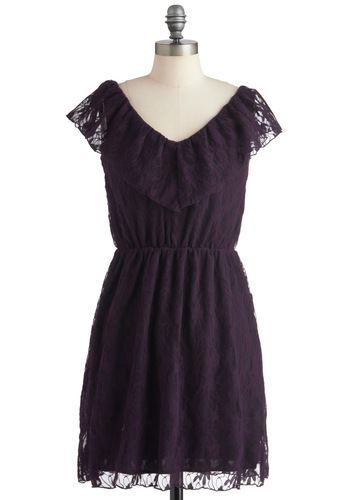 Ingeniously Aubergine Dress - Purple, Lace, Party, Sleeveless, Mid-length, A-line, Film Noir, French / Victorian, Cocktail, V Neck