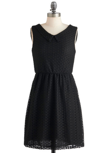 Lit Mag Launch Party Dress - Black, Crochet, Peter Pan Collar, Work, A-line, Sleeveless, Scholastic/Collegiate, Mid-length, Cocktail, Collared, V Neck