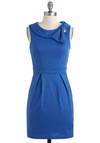 Career Flair Dress - Short, Blue, Solid, Pleats, Work, Sheath / Shift, Sleeveless
